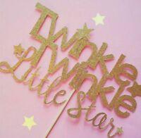 BABY SHOWER TWINKLE TWINKLE LITTLE STAR GLITTER CAKE TOPPERS | GIRL BOY TOPPER