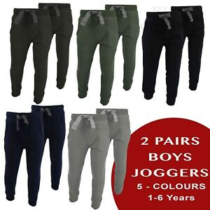 2 PACKS / PAIRS BOYS JOGGERS TRACK BOTTOMS TROUSERS JEANS JERSEY FABRIC [FE-03]