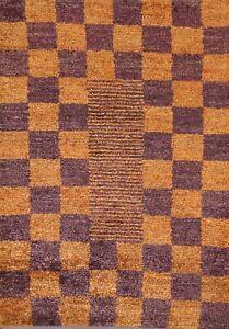 Contemporary ORANGE/ PURPLE Gabbeh Oriental Area Rug Jute Handmade 4x6 Carpet