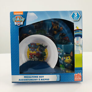 Paw Patrol Zak 3 Piece Mealtime Dishes Set Plate Bowl Cup Nickelodeon BPA Free