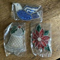 VINTAGE Avon Shimmering Christmas Ornaments set of 3 Dove Bell Poinsettia