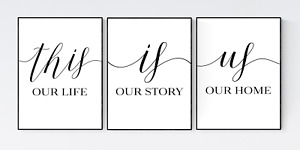 Set of 3 Family Prints, Family Life Quote Print, Living Room Wall Art
