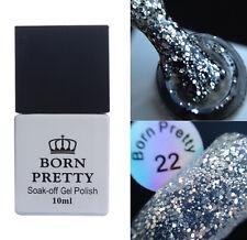 10ml BORN PRETTY Shimmer Silver Nail Glitter Soak Off UV Gel Polish Varnish 22#