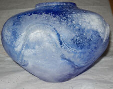 RARE VINTAGE MURANO Cobalt BLUE VASE -10 LB (4kg 800 g) - TECHNIGUE SCAVO $1000