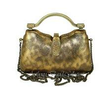 Bronze & Gold Metallic Faux Leather Handbag Evening Bag Purse with Gold Crystals