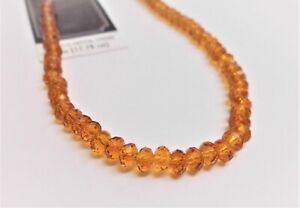 """GOLDEN TOPAZ CRYSTAL FACETED  RONDELLE BEADS ( 7"""" strand )  Loose  New"""