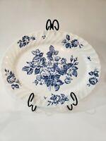 "Johnson Brothers Blue Devon Sprays 12"" Oval Serving Platter English China"