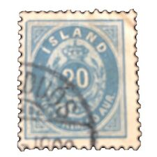 ICELAND, SCOTT # 28, 20a. VALUE DULL BLUE 1898  ISSUE USED