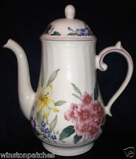 VILLEROY & BOCH FLORA BELLA COFFEE POT 42 OZ MULTICOLOR FLOWERS SWIRL SHAPE