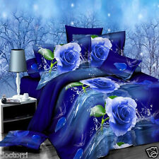 4pcs Suit Polyester Fiber 3D Blue Rose Flower  Dyeing Bedding Sets  King Size