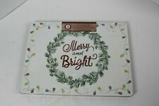 "Christmas Cork Placemats Set of 4 Merry & Bright with Lights 12""  x 16"" NEW Seal"