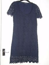 Ladies French Connection Navy Crochet Dress Size 10 (H)