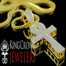 Mens 10K Yellow Gold On Real Silver Ankh Cross Simu Diamond Pendant Chain Combo