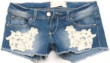 "Almost Famous Embroidered Flower Denim Jean Super Cute Shorts Size 3 27"" Waist"