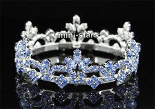 Bridal Flower Girl / Baby Round Full Circle Crystal Blue Mini Tiara Crown T1786