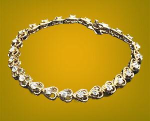 Ross Simons 925 Sterling Silver Rose Gold Tone CZ Heart Charm Tennis Bracelet