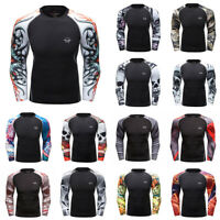 Men's T-Shirt Compression Printed Tee Sport Gym Tops Long Sleeve Workout Fitness
