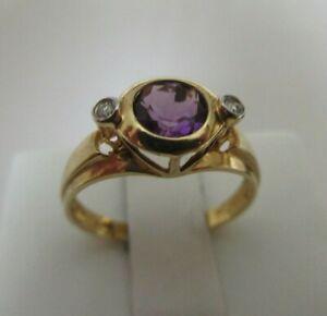 BEZEL SET AMETHYST AND DIAMOND YELLOW GOLD 14K RING