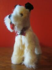 Antique German Dog White Mohair Fur Scotty Pup Glass Eyes Red Collar