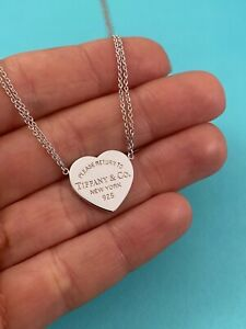 """Tiffany & Co Serling Silver Double Chain Return To T Heart Tag Necklace 16"""""""