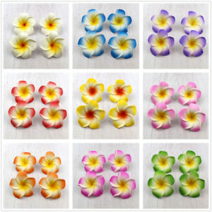 100pcs 6cm Foam Floating Frangipani/Plumeria/Hawaiian Flower Head 10 colors