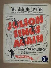 song sheet YOU MAKE ME LOVE YOU Jolson sings again
