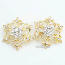 2 Pcs Luxury Clear Glass Rhinestone Flower Buttons Gold Tone Sewing Craft