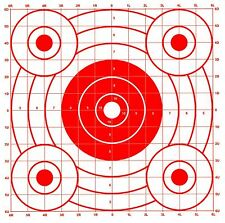 Red Pistol & Rifle Sighting-In Bullseye Paper Shooting Targets - 14x16 - 68 Qty.