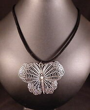 GOTH TIBETAN SILVER BUTTERFLY PENDANT NECKLACE WITH BLACK CORD