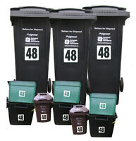 11x Recycle Wheelie Wheely Bin Stickers House Numbers