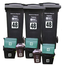 11x Blanco calcomanías de vinilo papelera reciclaje Wheelie Wheely bin Pegatinas Números De Casa