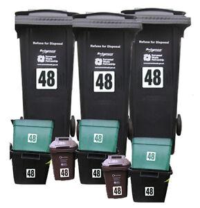 11x White Vinyl Decals Dustbin Recycle Wheelie Wheely Bin Stickers House Numbers