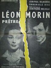 affiche cinéma,leon morin pretre,60x80,Jean-Pierre Melville,Belmondo,E Riva