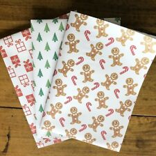 3 X Sheets Christmas Wrapping Paper - 100% Recycled Paper