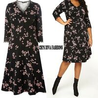 NEW EX DOROTHY PERKINS Curve Floral Print Fit & Flare Skater Dress Sizes 18-28