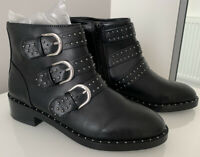 Pull&Bear Black Biker Style Studded Ankle Boots Shoes Size:Euro37,U.K:4,H&M Zara