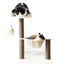 New listing Catry, Cat Tree with Hammock Bed and Natural Sisal Scratching Posts-Beige