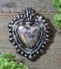 Silver Metallic Heart Clay Ornament Handmade by Rafael Pineda Mexican Folk Art
