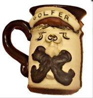 VTG Signed Bradford Golf Golfer Stoneware Pottery Handmade Ugly Face Mug Cup