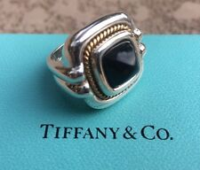 Tiffany & Co RARE Vintage Silver 18K Gold Rope Onyx Ring Size 4-3/4