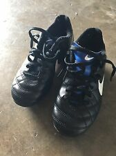 Boys Girls Kids Nike Tiempo Soccer Cleats Shoes Size 12C In Black & Blue