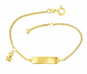 Kinderarmband Bär ID Armband 585 Gold 14cm Schildband 14 Kt Gravur 5.56049-1-585