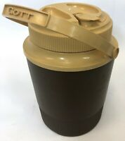 Vintage GOTT Brown Tan 1970 Hot Cold Screw Top Thermos Drink Jug Container