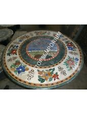 "24"" Green Marble Round Coffee Bedroom Table Top Marquetry Inlay Home Decor H4920"