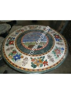 """24"""" Green Marble Round Coffee Bedroom Table Top Marquetry Inlay Home Decor H4920"""