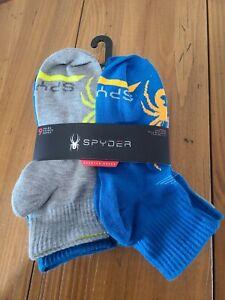 New SPYDER Boys QUARTER Socks 9 Pr Assorted Shoe Size 4-10