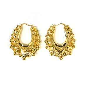 9ct Yellow Gold Oval Creole Spike Earrings 6.3.g *New*