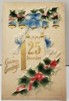 Christmas Greetings Blue Bells Airbrushed Holly Heavy Embossed Postcard D19
