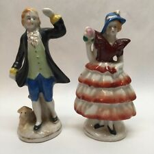 Pair of Occupied Japan Hand Painted Figurines Man and Woman Couple Sheep Lamb C1