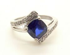 W/ Cubic Zirconia Accents 7 1/4 Pretty Vintage Sterling Silver Lab Sapphire Ring